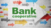 Money concept:  arrow with Bank Cooperative on grunge textured concrete wall background, 3D rendering